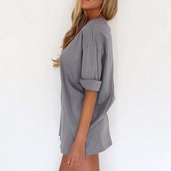 セクシーな女性の女性の半袖O  - ネックラインカジュアルミニドレスプルオーバートップブラウスシャツS  -  XXL