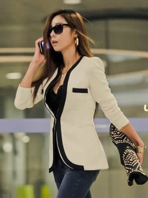 レディースファッション韓国スタイル長袖スリムセクシーカジュアルホワイトスーツ(S / M / L / XL)