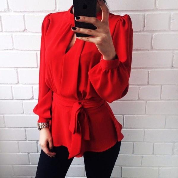 ファッション女性セクシーオープンバックTシャツパフスリーブカジュアルシャツトップレッドブラウス