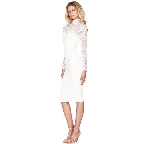 1PCの女性ファッションセクシーなレースホローアウトドレスボディコン長袖スリムフィットドレス