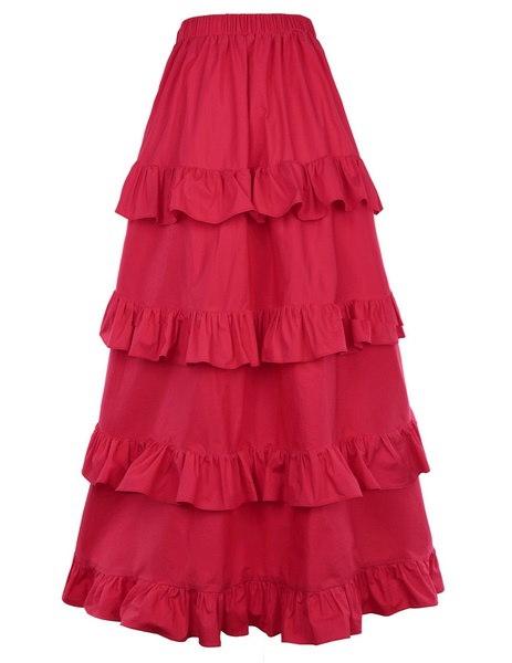女性のヴィンテージビクトリア朝のゴシックフリルダンススカート