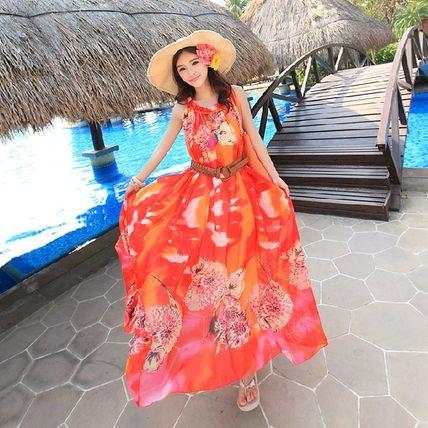 花柄が綺麗☆レッド ビーチ 可愛い ゆったり ワンピースドレス