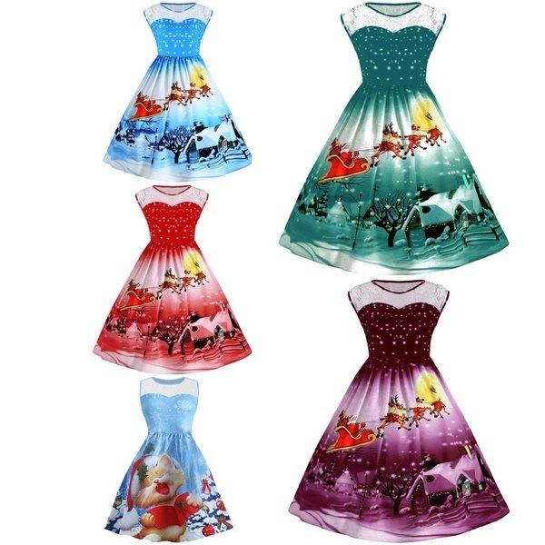 Zaful Hepburnヴィンテージシリーズ女性ドレス春と夏クリスマスキャリッジプリントレースステッチ