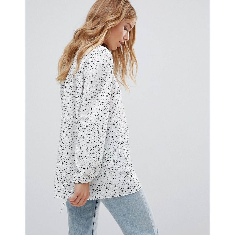 グラマラス レディース トップス【Glamorous Relaxed Smock Top In Star And Spot Print】White