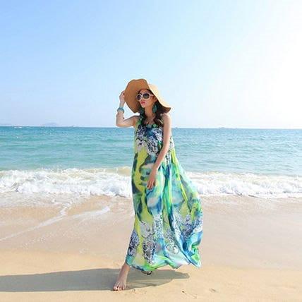 花柄が綺麗☆グリーン ビーチ 可愛い ゆったり ワンピースドレス