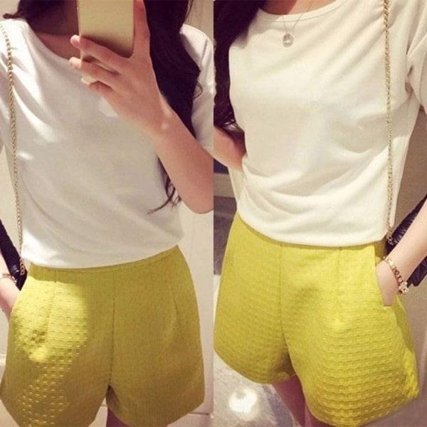 女性の夏のコットンショーツ甘いスタイルのハイウエストカジュアルエレガントな女性のジーンズチェック柄ショート