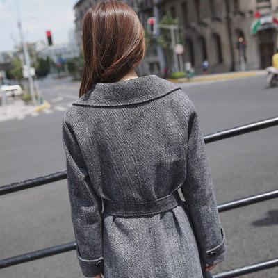 ラシャコートチャック柄 韓国ファッション エレガント 気品  アウター   ママ レディース おしゃなコート スプリングコート