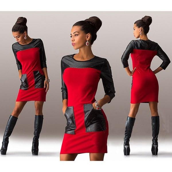 高品質の女性のファッションセクシーなラウンドネックステッチPUレザードレス(米国サイズ)