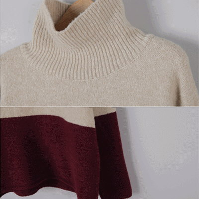 [something]Two Tone Turtle Knit ★ Direct From korea/High Quality/Women Office Wear/Korea Styl