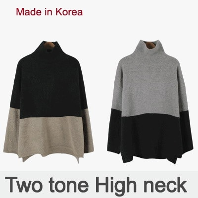 [something]Two Tone Turtle Knit ★ Direct From korea/High Quality/Women Office Wear/Korea Styl