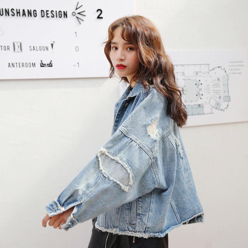 [55555SHOP]韓国ファッション/デニムジャケット レディース ジージャン秋冬/アウター長袖 ショート大きいサイズコート カジュアル カウボーイ アウター