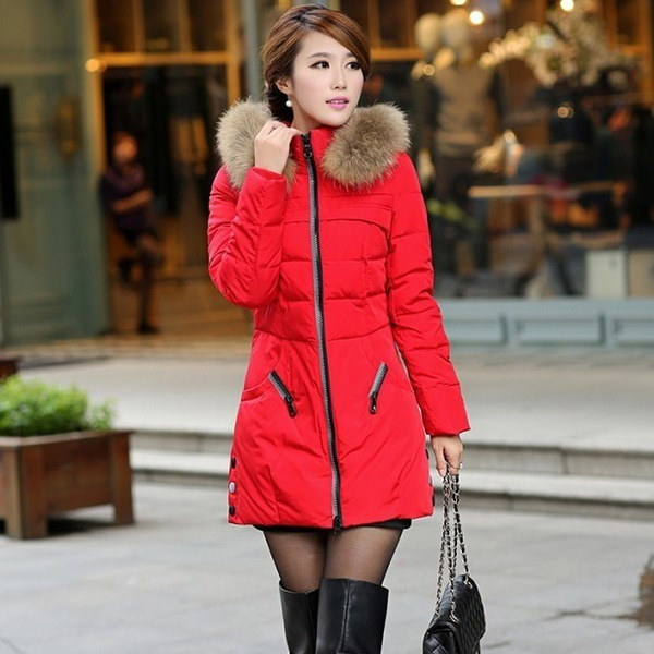 女性の冬の厚いキープウォームダウンジッパージャケットロングコットンパディングアウトウェア
