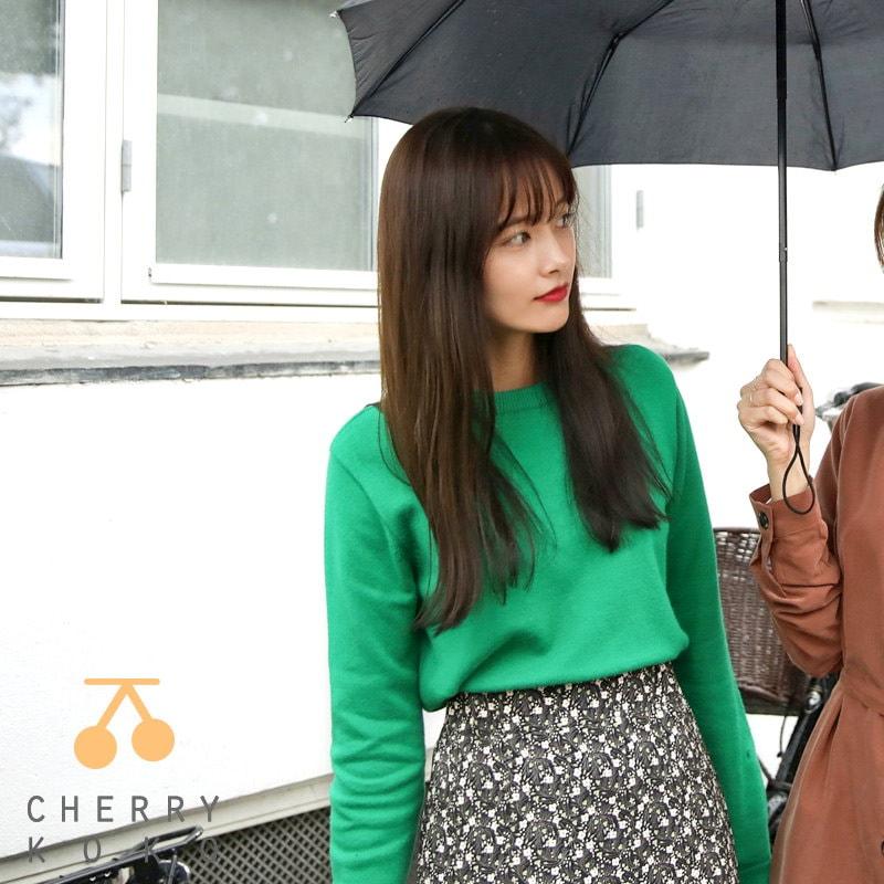 【CHERRYKOKO】【秋冬新作】【送料無料】✯韓国ファッション✯ ラウンドネックニット グリーンカラー ♥