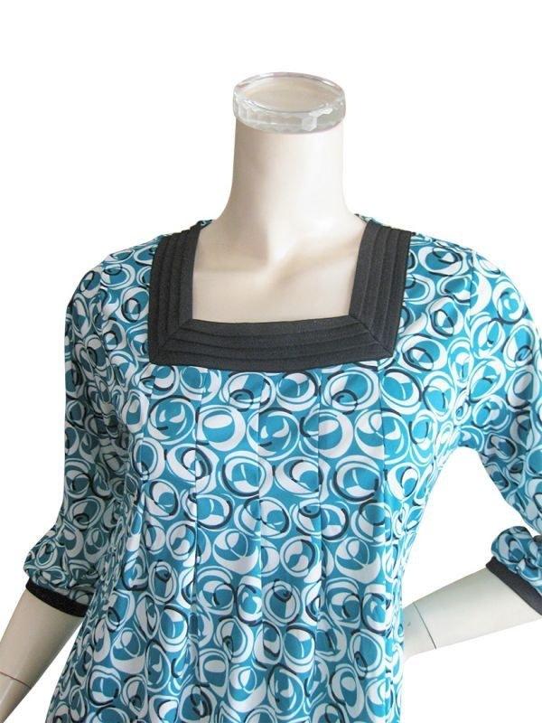 スクエアネック 七分袖デザインチュニック M~Lサイズ