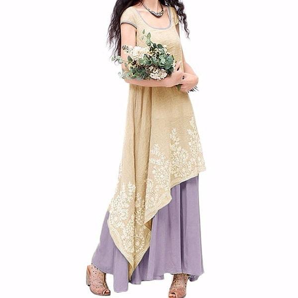 中国スタイルのレディースコットン刺繍ショートスリーブマキシロングシャツドレスプラスサイズのファッション