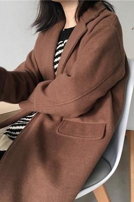 アンティーク調/韓国風/新しいデザイン/気質/長袖/バックル/単一色/ウールのコート/ルース/カーディガン/ウールコート/女/秋冬
