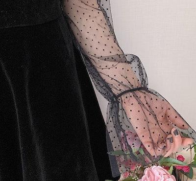 ベルベットワンピース ワンピースドレス キャンディスリーブ メッシュ ドット柄 異素材MIX Aライン フレア エレガント フェミニン 二次会 結婚式 ブラック