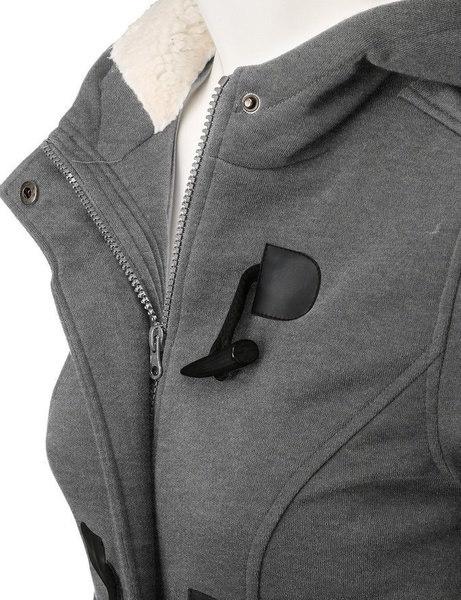 ホットセールトップスウィンタークロールクラスプレディースウールブレンドクラシックピーコートジャケット(S-XXL、ブラック、ライトグレー)