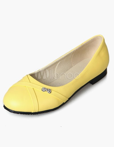 White Round Toe PU Leather Academic Ladies  Flats