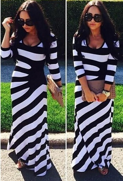 Oversized Boho Womens Long Sleeve Stretch Beach Party Long Full Maxi Dress Plus Size