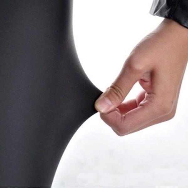 シャイニーメタリックハイウエストレディースストレッチレザーレギンスS / M / L XLプラスサイズパンツ