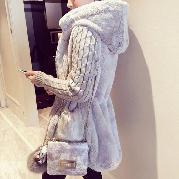 女性のぬいぐるみスプライスニットスリーブフード付きジャケットコートアウトウェア