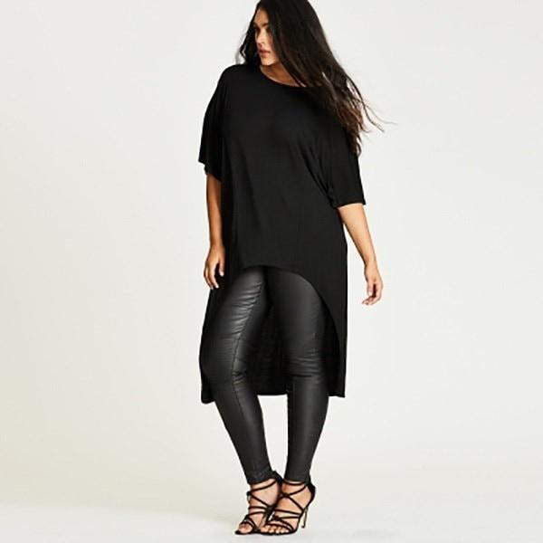 long asymmetrical t shirt womentplus size 6xl 5xl 2016 Summer Short Sleeve Black Streetwear female t
