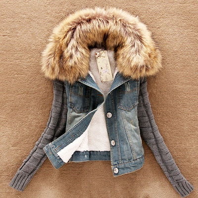 Winter Women Jeans Coat Fleece Short Denim Jacket Slim Fur Collar Outerwear Tops Warm Coat