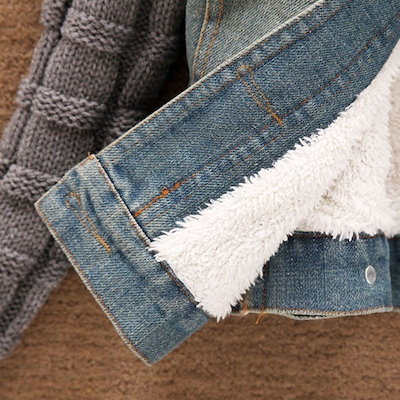 Winter Women Jeans Coat Fleece Short Denim Jacket Slim Fur Collar Outerwear Tops Warm Coat