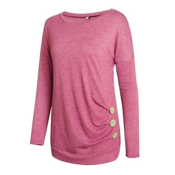 女性のラウンドネックカラーロングスリーブボタンデコレーションTシャツ
