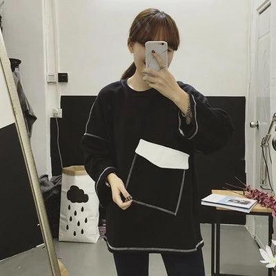 ワードプリント プルオーバー パーカーカットソー[レディース]Tシャツ・ブラウス・パーカー・トレーナー・セットアップ・リュック・バッグ・韓国ファッション
