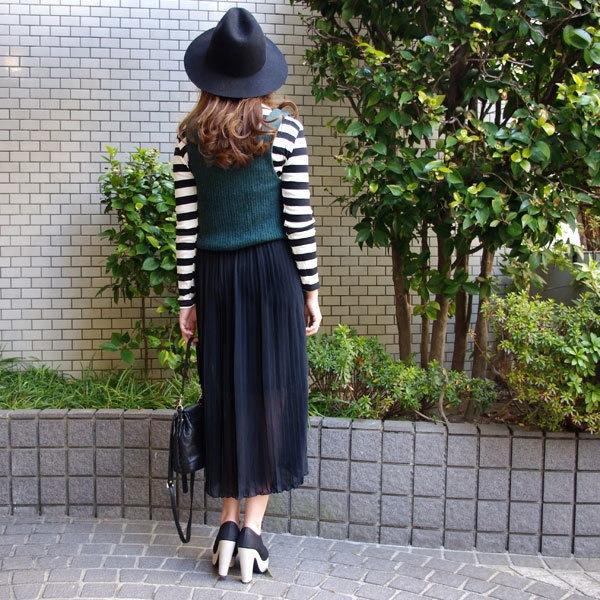 Vネック ニット トップス シフォン プリーツ ロング丈ワンピース/2カラー/レディース/ワンピ