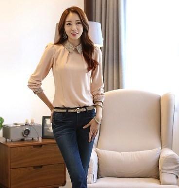 NEWスタイルファッション女性ドールカラーシフォンロングスリーブカジュアルブラウスシャツトップ
