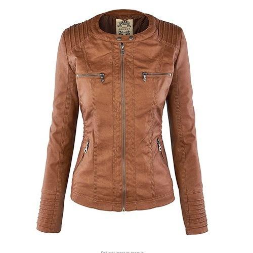 新しい到着プラスサイズの女性ファッション秋冬コートジャケットtロングスリーブジッパー新しい女性のスタイル