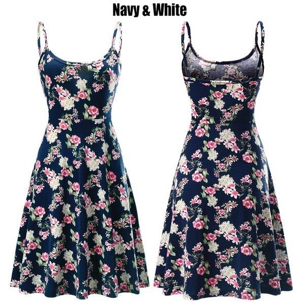 FUERFITSレディースカジュアルビーチ夏のノースリーブ調節可能なストラップの花のドレス