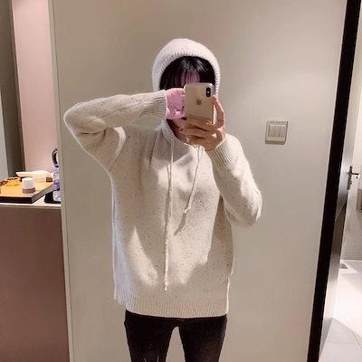 パーカー セーター  フード ニット カジュアル 長袖 秋冬 通勤 デート お出かけ
