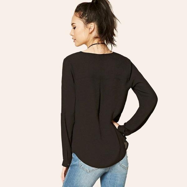 女性のファッションロングスリーブVの首輪ビンテージコートビッグサイズシフォンレジャーTシャツ3色