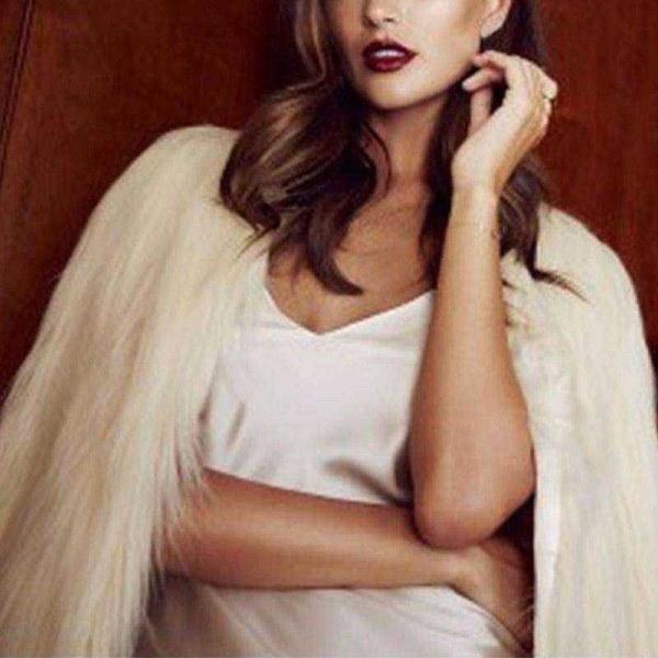 秋冬ファッション女性エレガントなフェイクファーコート女性暖かいロングスリーブアウターウェアファーコートジャケットO