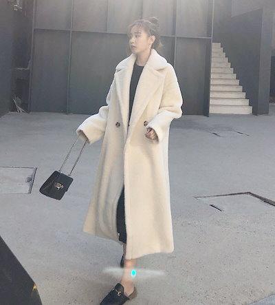 ゆったり着れて暖くホワイトカラーが可愛い♪ アウター ロングコート ダブルブレスト 無地 ゆったり オーバーサイズ ドロップショルダー ビッグシルエット もこもこ