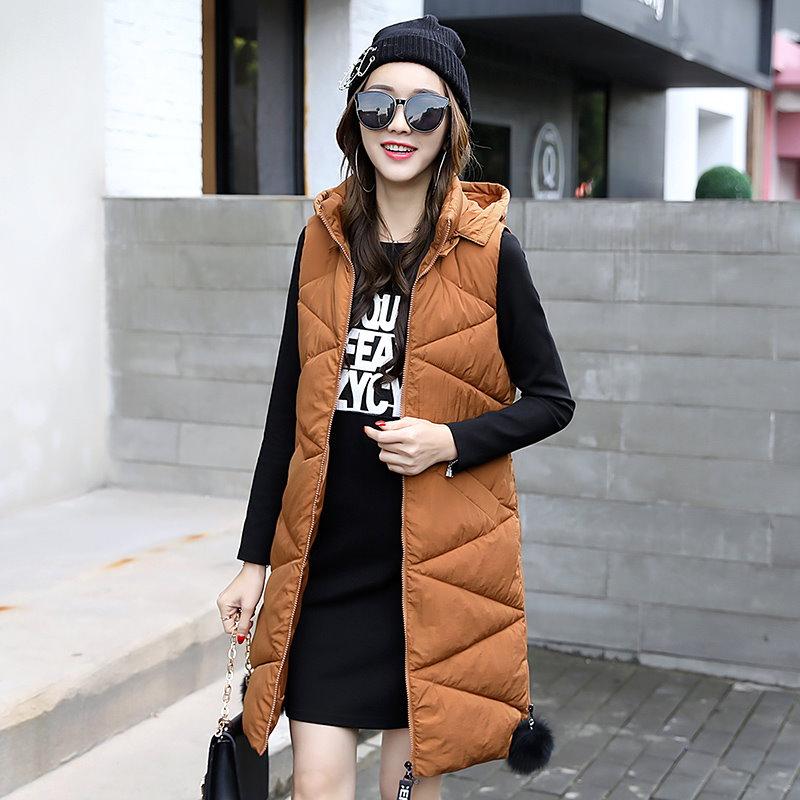 ロングベスト レディースファッション 帽子ベストジャケット韓国 ファッションシンプル純色ロングタイプ中綿入りコート防寒秋冬新作大きいサイズアウター前開きチョッキベスト