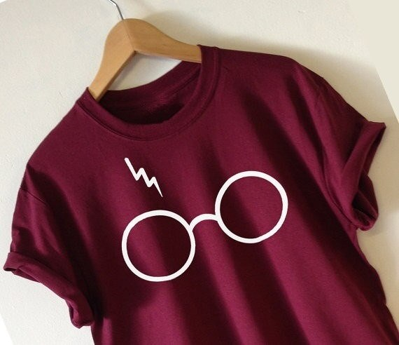 トレンディーサマースーパーソフト女性ファッションハリーポッターTシャツライトニングメガネTシャツティーシャツ