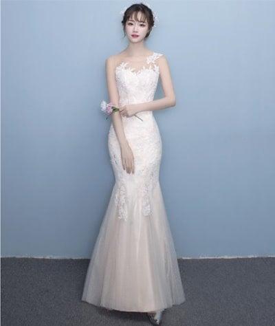 ウエディングドレス フィッシュテール 花柄 エレガント ホワイト