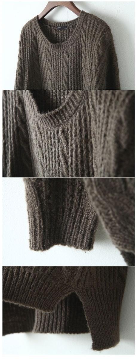 ★送料無料★ケーブル編みサイドスリットニット[レディース] 韓国ファッション ワンピース バッグ リュック パーカー コート アウター カーディガン ハロウィン セットアップ トレーナー