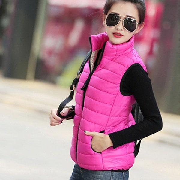2017新しい女性の冬の軽量スタンドカラーソリッドカラーダックダウンベストジャケット暖かい防水S