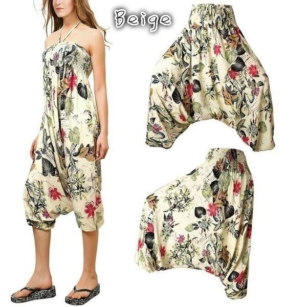 女性のファッションBohoプリントパンツアラジンハレムヒッピージャンパーズパンツ(S-XXXXXL)QD0931