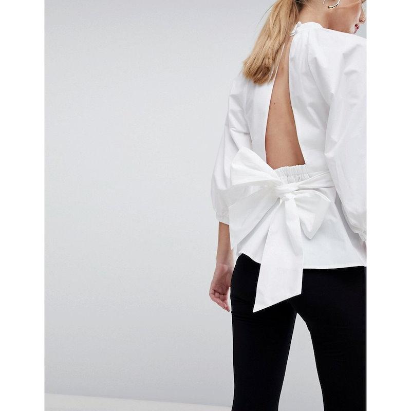 エイソス レディース トップス【ASOS Premium Cotton Open Back Top】White