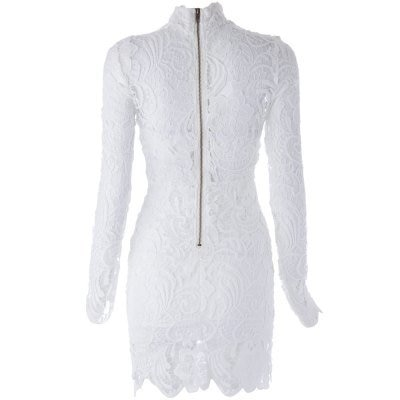 Sexy High Neck Long Sleeve Spliced See-Through Lace Women s Dress