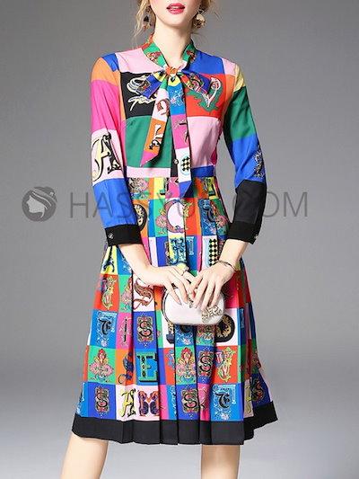 配色 スタンドネック 長袖 リボン飾り プリント 個性的 エレガントワンピース