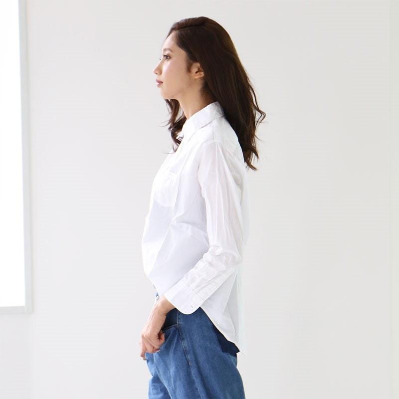 シンプル無地レディースシャツ シャツ ブラウス 襟付き 綿100% スキッパーシャツ ポケット付き 大きいサイズ 無地 カジュアル トップス 長袖 羽織り wc-0128