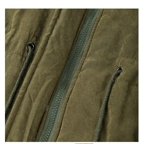 新しい冬の女性のフリースパーカーウォームコートパーカージッパーオーバーコートロングジャケットアーミーグリーン